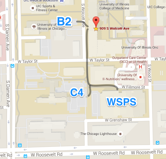 Map showing visitor parking lots near COMRB - B2, C4, and Wood Street Parking Structure.