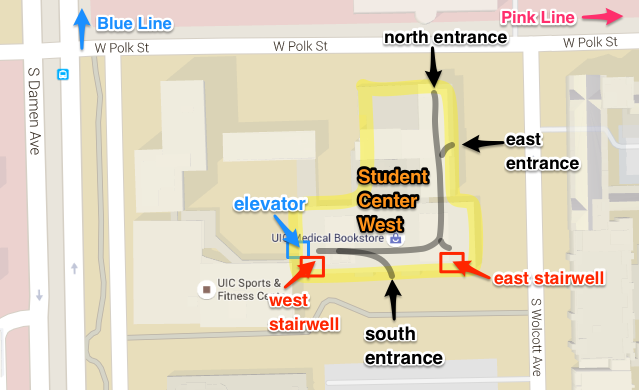 Map of entrances to Student Center West (SCW)