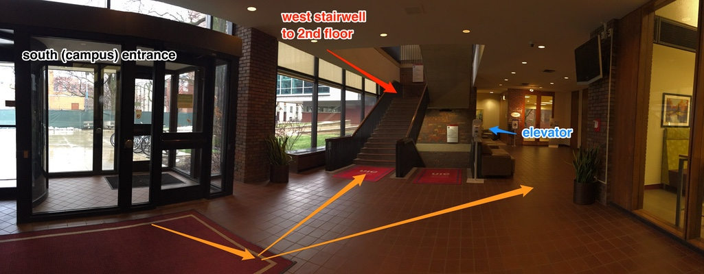 South entrance lobby - west stairwell and elevator to 2nd floor