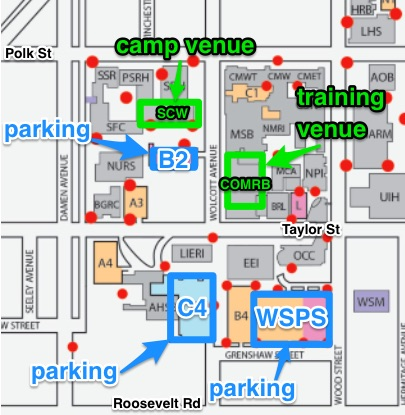 UIC Parking lots: B2, C4, Wood Street Parking