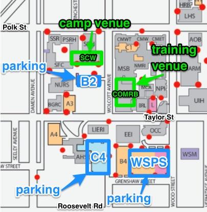 UIC Parking lots: B2, C4, Wood Street Parking